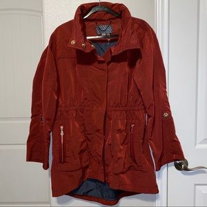 Casablanca Anorak Coat in Burgundy with Gold